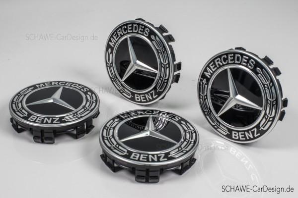 Radnabenabdeckung | Stern mit Lorbeerkranz in schwarz | Original Mercedes-Benz